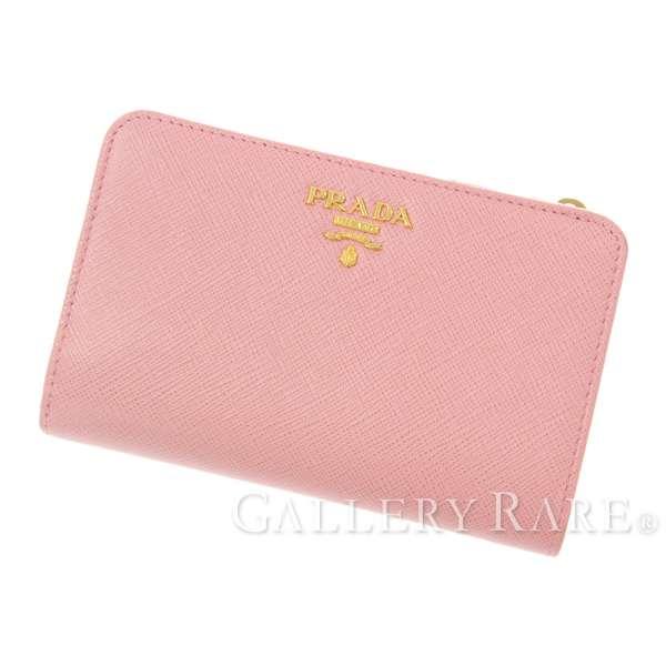 プラダ 二つ折り財布 サフィアーノ SAFFIANO METAL ピンク レザー 1ML225 PRADA 財布 L字ファスナー【安心保証】【中古】