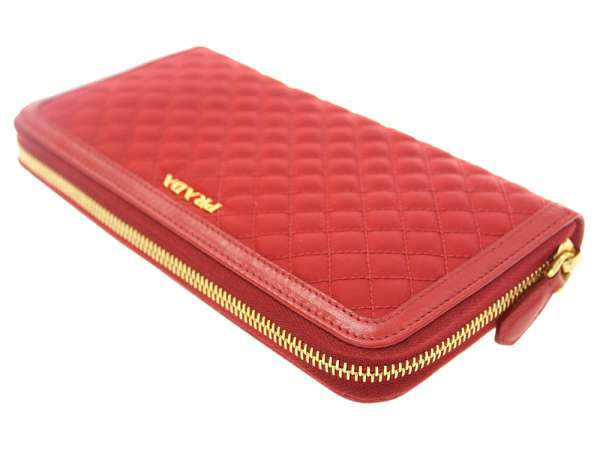 f411605d9f8d PRADA Wallet Quilted Nylon Canvas Leather Red 1M0506 Italy Authentic 5333905