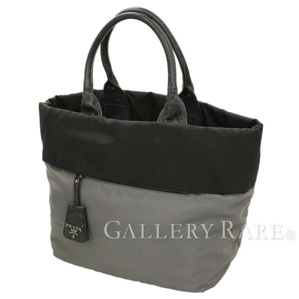 d93a5b8707 PRADA Tote Bag Nylon Leather Black Gray B1959V Handbag Italy Authentic  5334018 ...