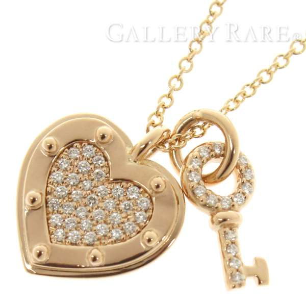 a8fbba8b3 Tiffany necklace return toe Tiffany love heart tag key pendant diamond  0.10ct K18PG pink gold ...