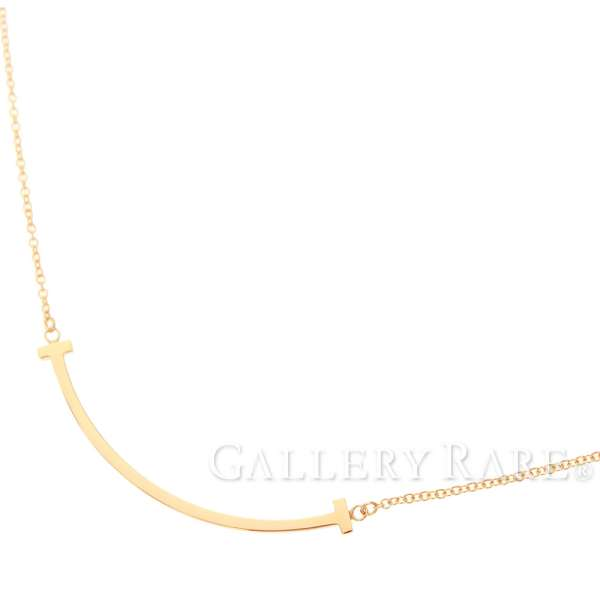 81382ae21 Tiffany & Co. T Smile Pendant Mini 18K Pink Gold Necklace Jewelry 5341115  ...
