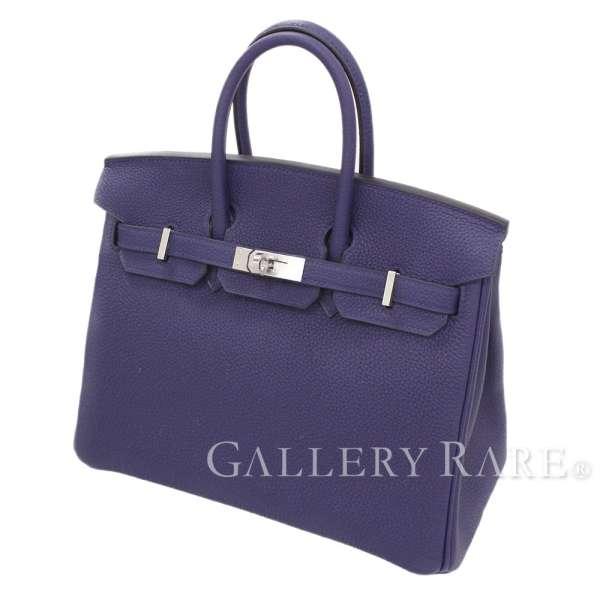 エルメス バーキン25 cm ハンドバッグ ブルーアンクル×シルバー金具 トゴ C刻印 HERMES Birkin バッグ