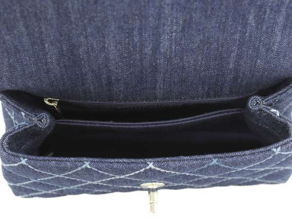 a94b93d6ef1dd3 ... CHANEL Small Top Handle Flap Bag Denim Canvas Navy A92990 Authentic  5346301 ...