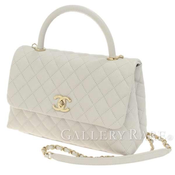 a08b57b060907c CHANEL Handbag Caviar Leather Light Gray Medium Top Handle Authentic  5366675 ...