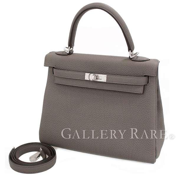 エルメス ハンドバッグ ケリー25 cm 内縫い エタン×シルバー金具 トゴ D刻印 HERMES Kelly バッグ ショルダーバッグ