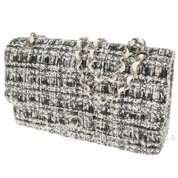 678ce7329e4f Chanel chain shoulder bag matelasse 25W flap W chain here mark black and  white tweed A01112 ...