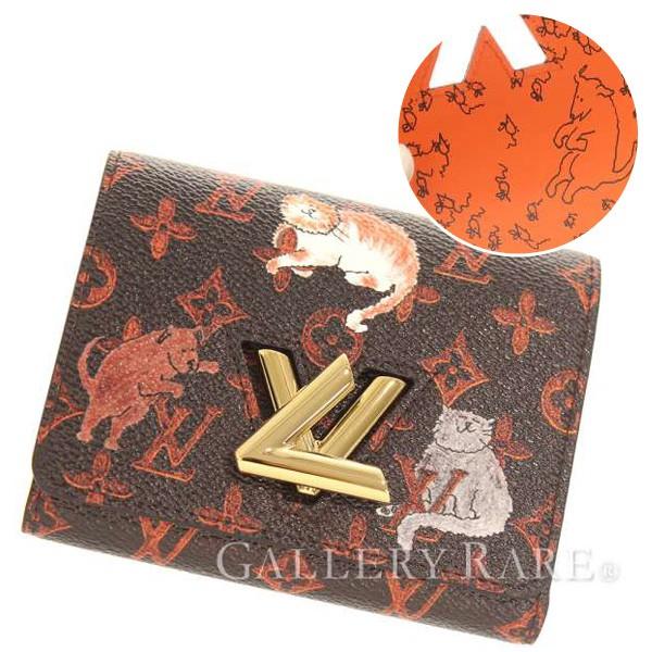 ルイヴィトン 財布 モノグラム キャットグラム ポルトフォイユ・ツイスト コンパクト M63889 LOUIS VUITTON ヴィトン 三つ折り財布 ネコ イヌ