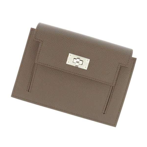 エルメス 財布 ケリーポケット コンパクト エタン×シルバー金具 ヴォーエプソン D刻印 HERMES コインケース 小銭入れ