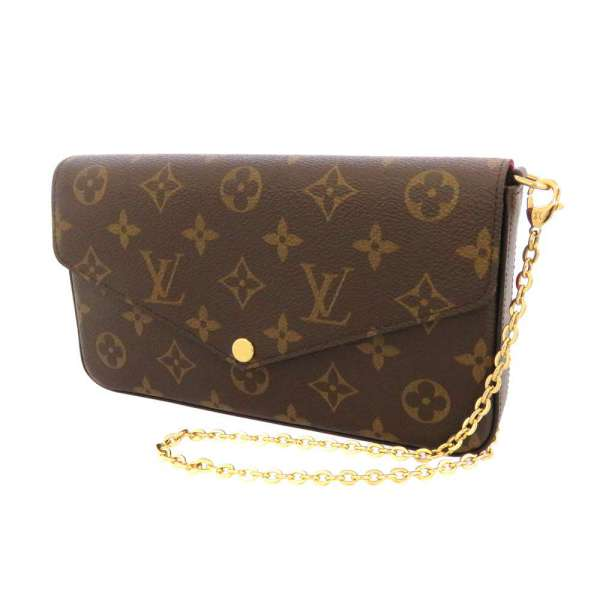 Louis Vuitton Chain Wallet Monogram Felice M61276 Purse Bag Clutch Shoulder