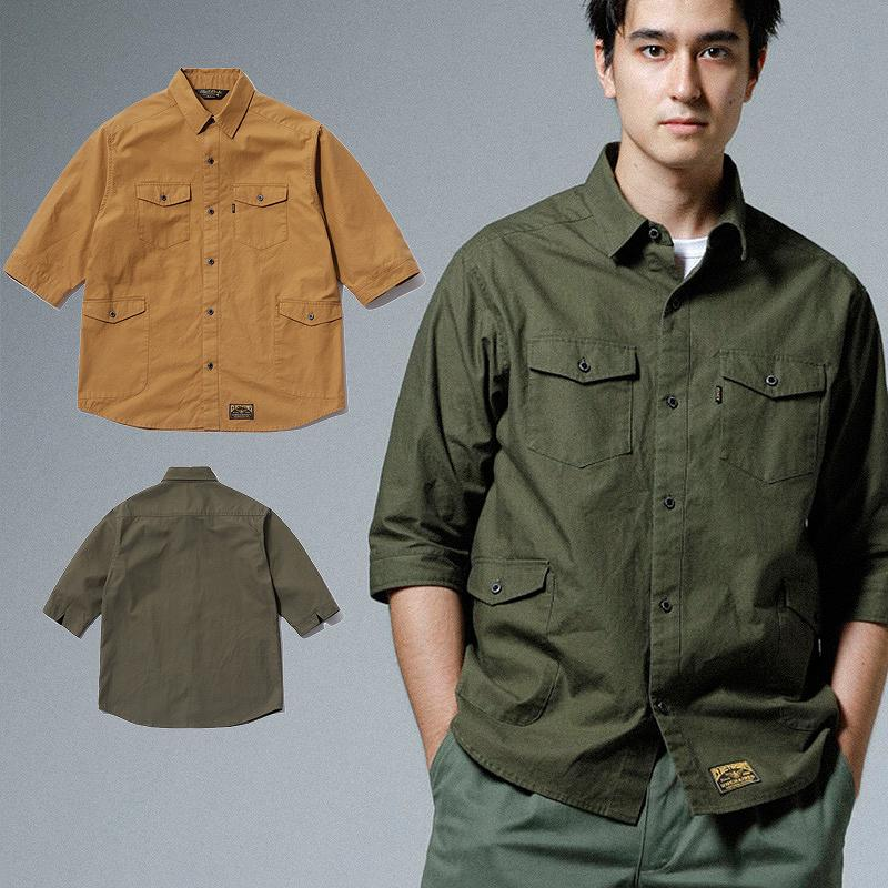 CLUCT クラクト シャツ 3/4 RIP STOP SHIRTS (CAMEL/KHAKI) ●SHT CLUCT2019SPRING/190506