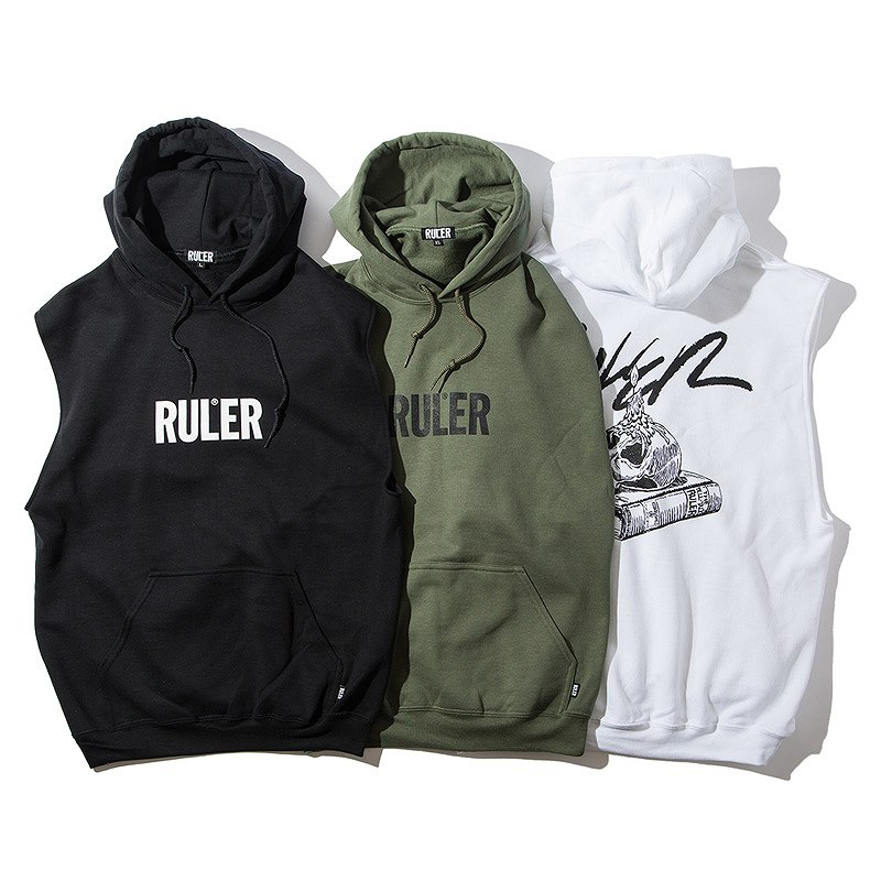 RULER(ルーラー) ノースリーブフーディーSOB NO SLEEVE SWEAT HOODIE(White, O.D., Black) %TEE RULER2019夏/190622