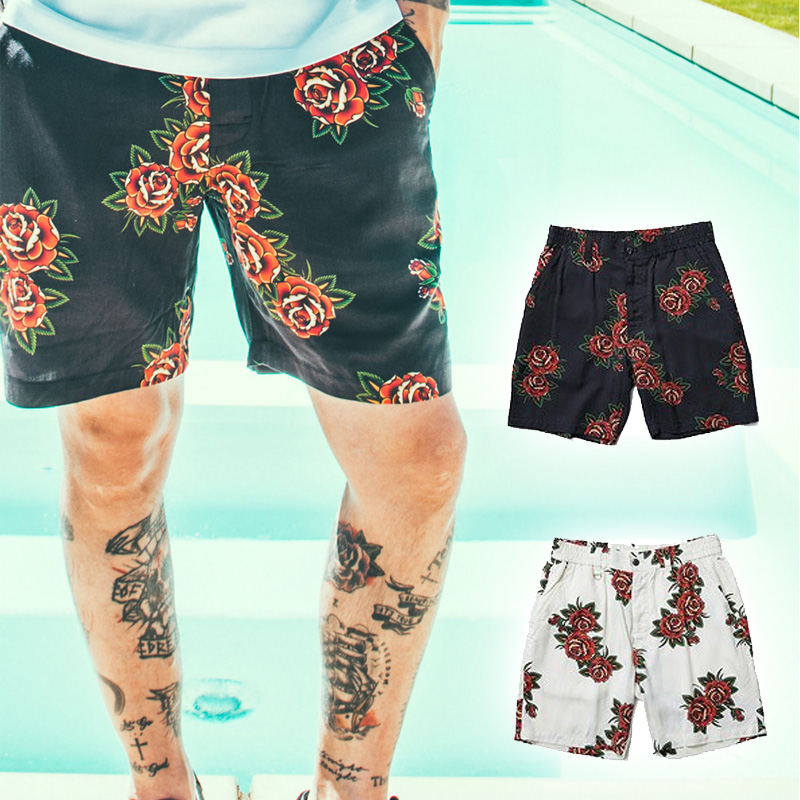 【30%OFF】スーパーSALE セール CRIMIE クライミー ROSEアロハROYショーツROY ROSE ALOHA SHORTS(BLACK / OFF WHITE) ●PNT CRIMIE2019春夏/190323
