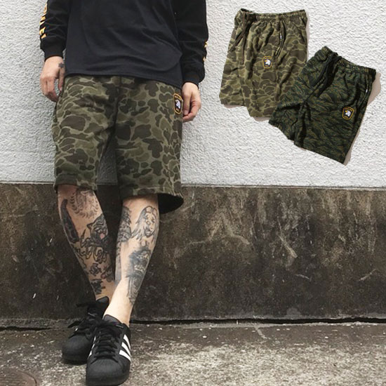 【20%OFF】GREEDアフターSALE/セール/RULER(ルーラー) ショートパンツCAMO SWEAT SHORTS(HUNTER CAMO,TIGER CAMO) ●PNT RULER2018春180417