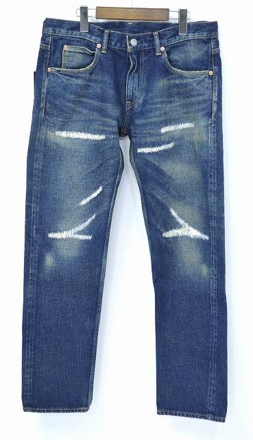 【新品】 HABANOS (ハバノス) 5P SLIM DENIM PANTS (FULL LENGTH) Repair Indigo 5ポケットスリムデニムパンツ リペア HBNS L