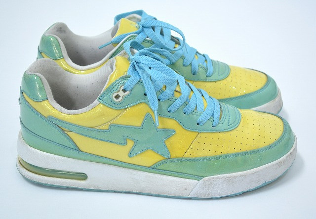 A BATHING APE (APE beishingu a) ROAD STA Roadster enamel patent lame  sneakers yellow 9.5 BAPE STA P15Aug15 007b8d03d