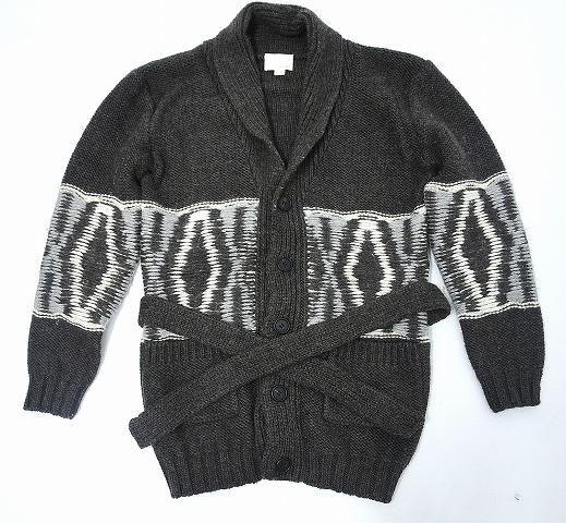【中古】 BAND OF OUTSIDERS (バンドオフアウトサイダーズ) ショールカラー カウチンニットジャケット KNIT ニットガウン セーター BROWN 1
