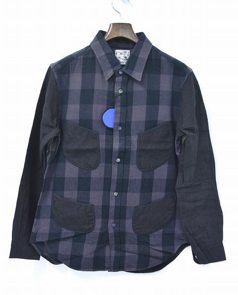 【新品】SPLOTCH of ink (スプロッチオブインク)Switching Material Shirts スウィッチングマテリアルシャツ 切替シャツ BLACK L パイピングシャツ