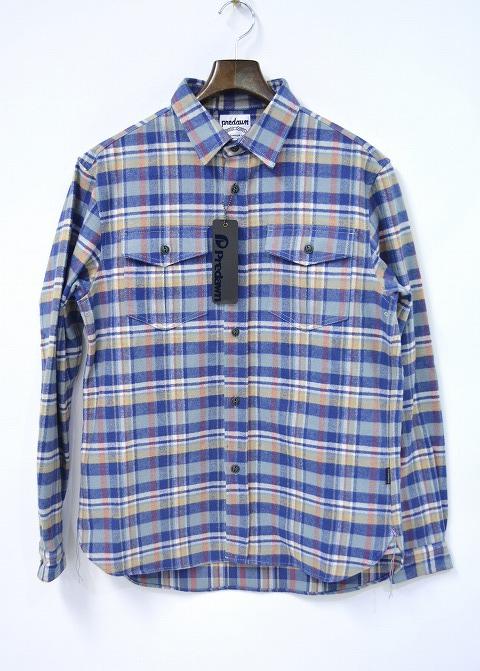 【新品】 PREDAWN (プリドーン)FLANNEL SHIRT フランネルシャツ チェックシャツ BLUE CHECK M