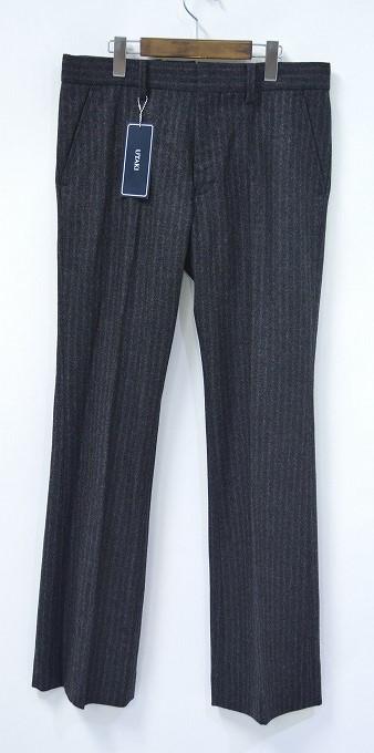 【新品】 UTAKI (ウタキ)WOOL FLARE TROUSERS PANTS C.GRAY L ウールフレアトラウザーズパンツ L ストライプ