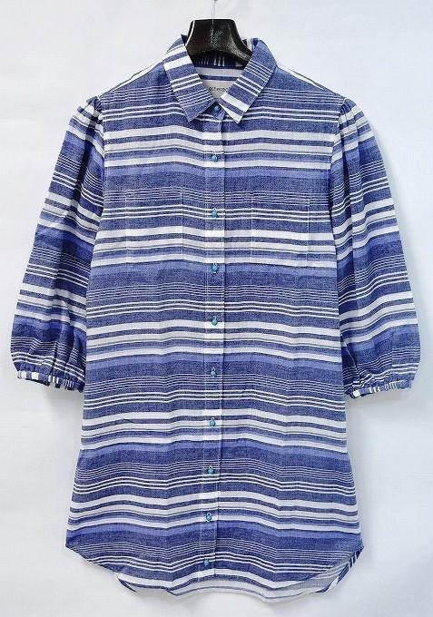 【新品】 【レディース】 ethereal (エテリアル)Puff Sleeve Shirts パフスリーブシャツ MULTI FREE 7分袖マルチボーダーロングシャツ