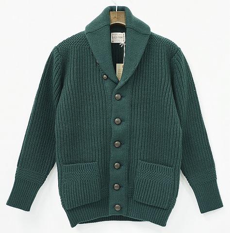 【新品同様】 BONCOURA (ボンクラ) Shawl Collar Cardigan ショールカラーカーディガン 36 GREEN 13AW