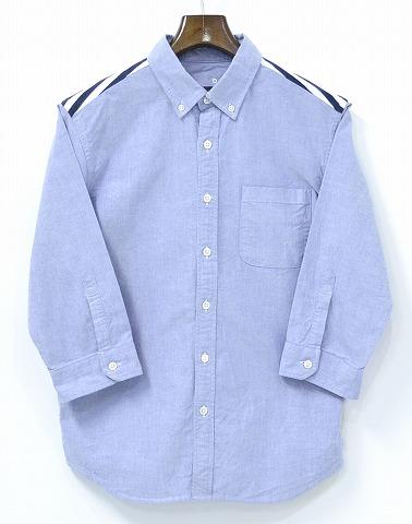 【中古】 SOPHNET. (ソフネット) H/S FABRIC MIX B.D SHIRT ハーフスリーブミックスボタンダウンシャツ S BLUE