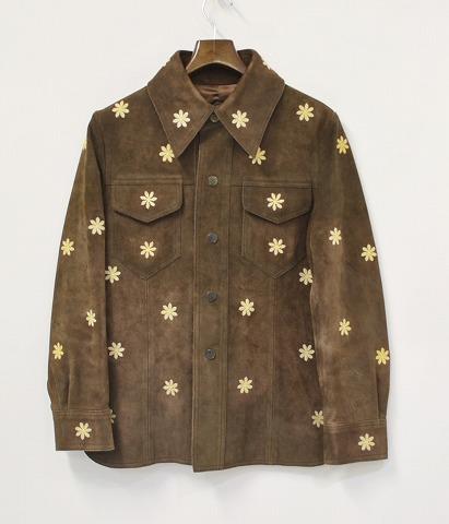 【中古】 2-TACS (ツータックス) 花刺繍スエードジャケット BROWN M