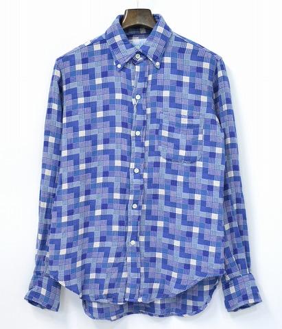 【新品】 Hombre Nino (オンブレニーニョ) B.D SHIRT チェックボタンダウンシャツ M BLUE 14AW