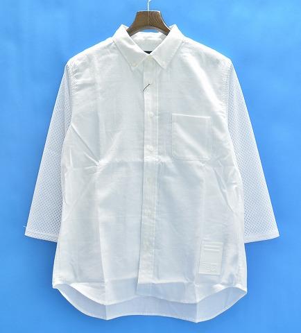 【新品】 PHENOMENON (フェノメノン) MESH SLEEVE OX SHIRT メッシュスリーブオックスフォードシャツ S WHITE 15SS