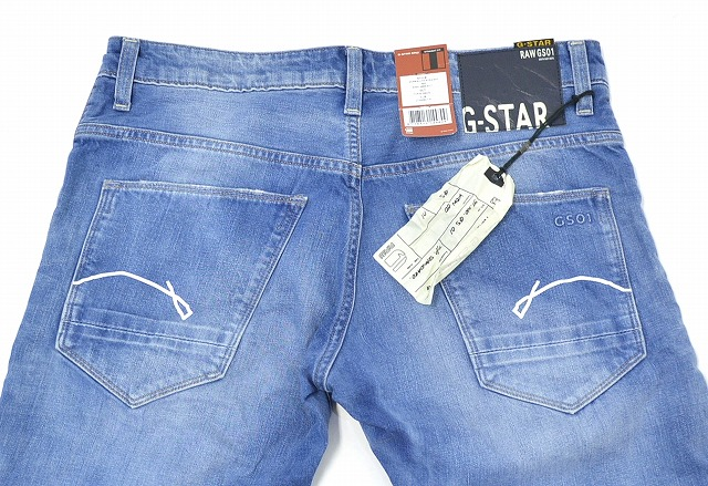 G-star RAW (ジースターロウ) MORRIS LOW STRAIGHT TOPAZ DENIM straight denim Pant Lowrise jeans 32 LIGHT INDIGO