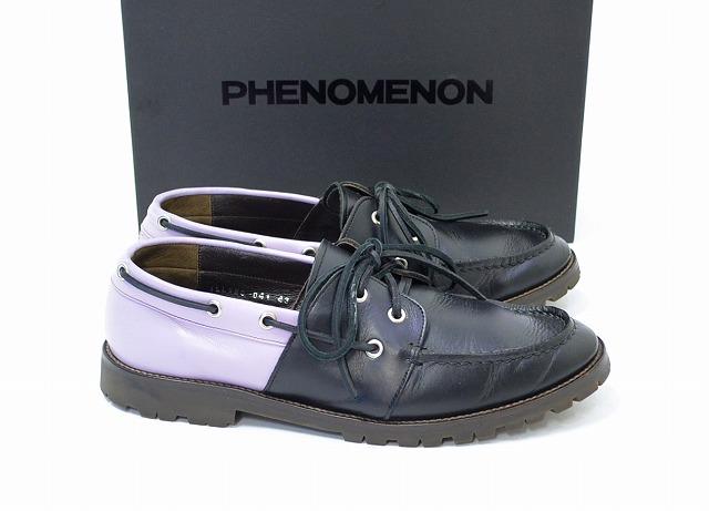 【中古】PHENOMENON (フェノメノン) MOCCASIN (LEATHER) レザーモカシンシューズ BLACK 43 デッキシューズ