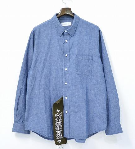 【美中古】 PHENOMENON (フェノメノン) BIGTAG CHAMBRAY L/S SHIRT ビッグタグシャンブレーシャツ L BLUE 15AW 【中古】