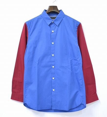 【新品】Mr. GENTLEMAN (ミスタージェントルマン) 2-COLORED SHIRTS 2カラーシャツ 13SS BLUE×RED L ブルー×レッド