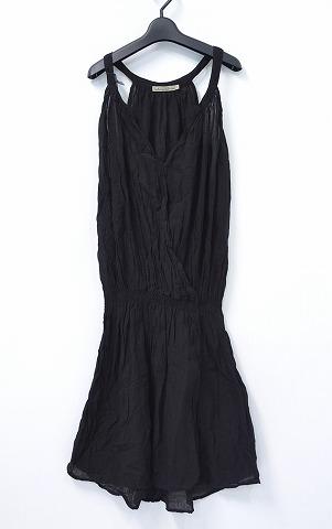 【新品】【レディース】 RABENS SALONER (レーベン サローネ) Wrap Dress ノースリーブワンピース S BLACK コットンドレス