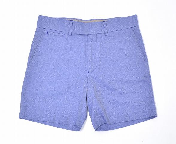 【新品】Mr. GENTLEMAN (ミスタージェントルマン) COLOR HERRINGBONE SHORTS カラーヘリンボーン ショーツ 15SS BLUE L ブルー SHORT PANTS ショートパンツ HALF ハーフ
