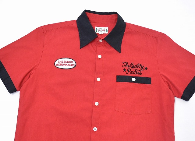 WACKO MARIA (wacomaria) 2 TONE WORK SHIRT (JESSE JAMES TOKYO) two tone short sleeve work shirt RED S red stitch Embroidery