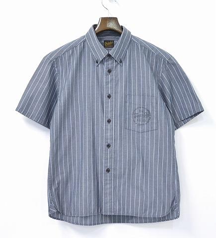 【中古】TENDERLOIN (テンダーロイン) T-WORK SHT S 半袖ストライプワークシャツ GRAY S グレー STRIPE SHIRTS SHORT B.D BOTTON DOWN ボタンダウン