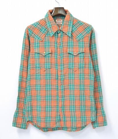 【中古】 MARBLES (マーブルズ) L/SL DOUBLE GAUZE CHECK SHIRTS ダブルガーゼチェックシャツ S ORANGE 14SS