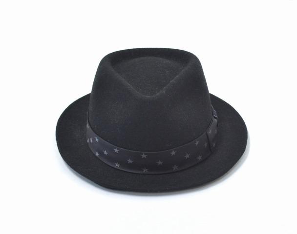 【中古】 M (エム) STAR FELT HAT スターフェルトハット L BLACK 帽子 星柄