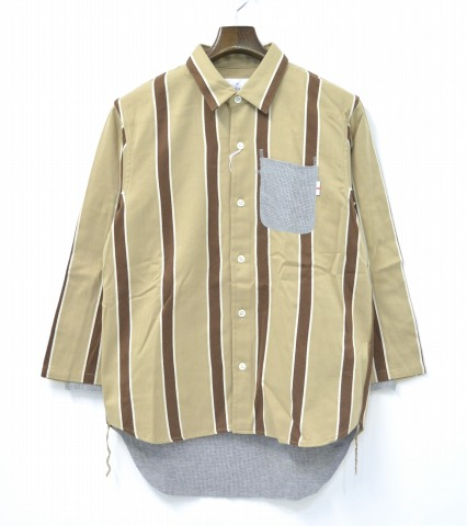 【新品】 WHIZ LIMITED (ウィズ リミテッド) 2012A/W (秋冬) REG 8/S ストライプ柄 シャツ SHIRT BEIGE L