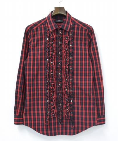 【中古】 DIESEL (ディーゼル) チェックフリルシャツ XS RED