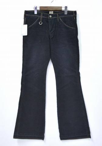 【新品】 BACK BONE×Wrangler (バックボーン×ラングラー) REMAKE CORDUROY FLARE PANTS リメイクコーデュロイフレアパンツ M BLACK