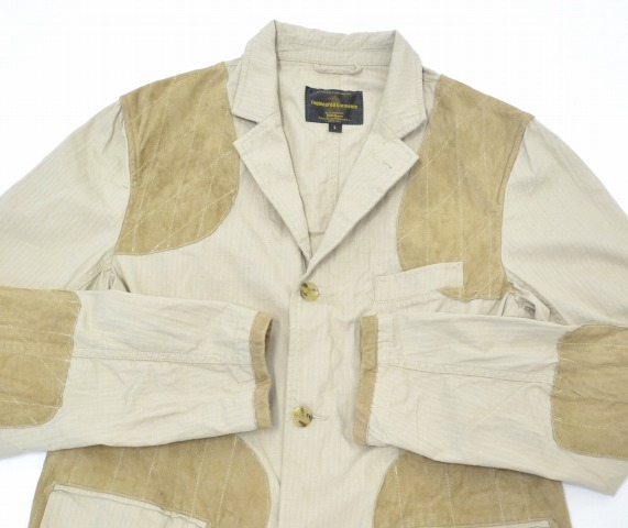 ENGINEERED GARMENTS(enjiniadogamentsu)×GOLDEN BEAR(黄金的提高基本工资)HARTFORD JACKET哈特福德茄克BEIGE L浅驼色SHOOTING打击HUNTING猎帽RIP STOP唇最高层LEATHER皮革SUEDE歪DOS果汁饮料