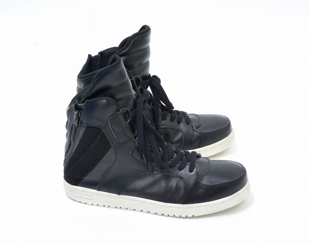 ATO (ATV) back zip high cut sneaker BLACK US10 black BACK ZIP HIGH CUT LEATHER SNEAKERS leather leather