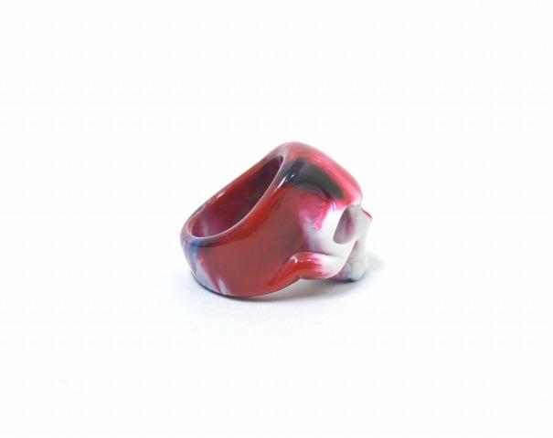 GARNI(garuni)051 Skull Acrylic丙烯双桨划艇环RED 17号红RING戒指骷髅骨骼大理石Marble