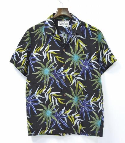 WACKO MARIA(wakomaria)PRINTED FLOWER S/S HAWAIAN SHIRTS花夏威夷人衬衫M BLUE-BLACK 16SS花纹夏威夷衬衫短袖