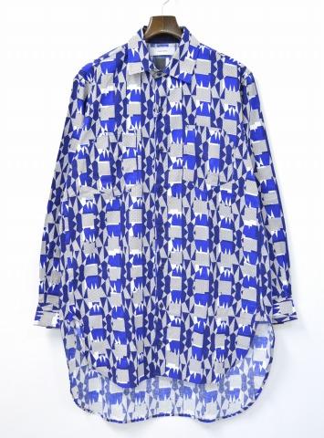 【新品】 FACETASM (ファセッタズム) GEOMETRIC LONG SHIRT ジオメトリックロングシャツ 00 BLUE 16SS