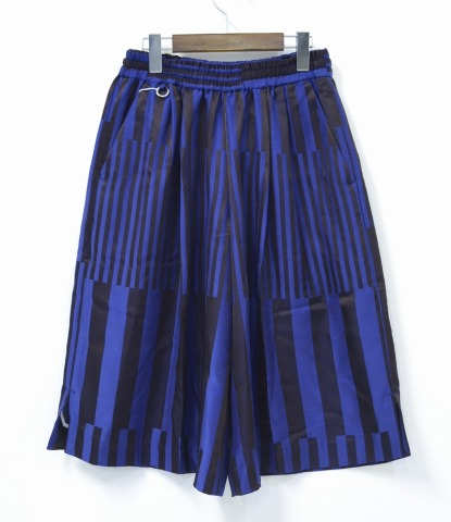FACETASM (facettasm) BIG BLOCK STRIPE CLOTTE 2 big block striped Culottes 2 00 Brown×ble 16SS tack with wide sorts shorts shorts pants