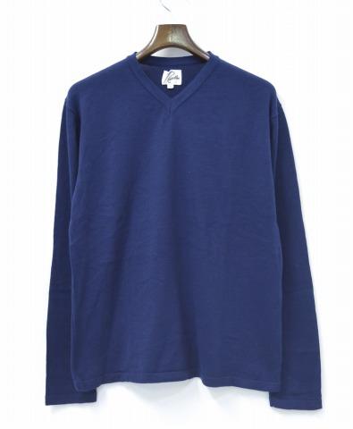 【中古】Needles (ニードルズ) C/A V-Neck Sweater Vネックセーター 14SS NAVY L ネイビー コットン/アクリル KNIT ニット ニードルス NEPENTHES ネペンテス
