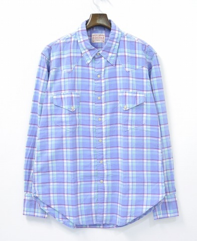 【中古】BONCOURA (ボンクラ) Western Shirt ウエスタンシャツ 14SS LAVENDER 40 ラベンダー CHECK チェック SHIRTS  【コンビニ受取対応商品】